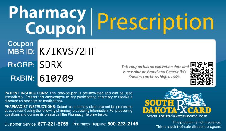 South Dakota Rx Card - Free Prescription Drug Coupon Card